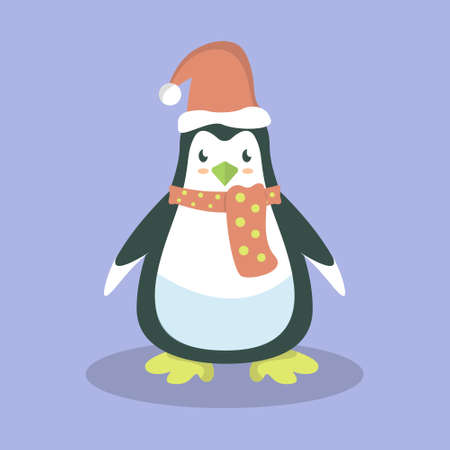 Cute Penguin Vector With Scarf Design Illustration Character For Christmas. Foto de archivo - 134871930
