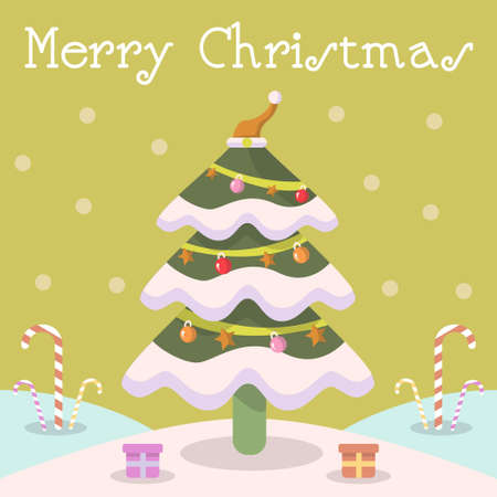 Merry Christmas tree, with candy santa hat gift box and snow. Stock Illustratie