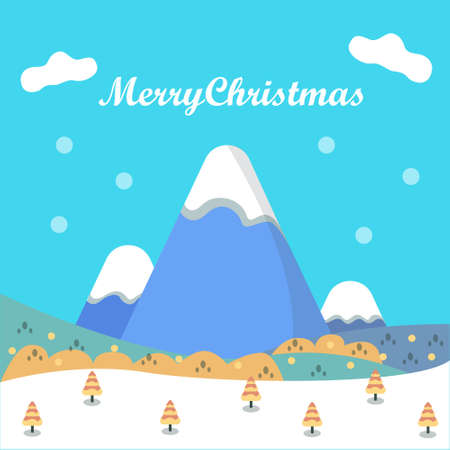 Merry Christmas Design, Landscape Mountain Forest and White Snow Illustration