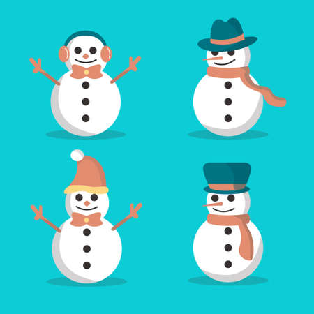Snowman set character vector design illustration with different hat, merry christmas.