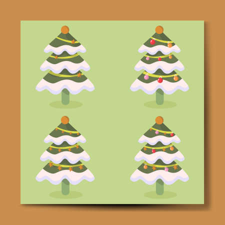 Christmas Tree set with different light design illustration, merry christmas