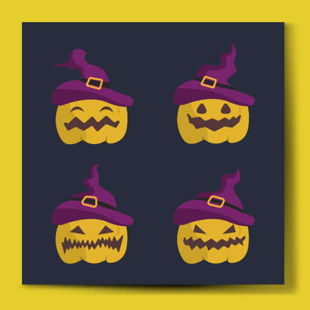 Halloween Pumpkins set character vector illustration with different expressions.