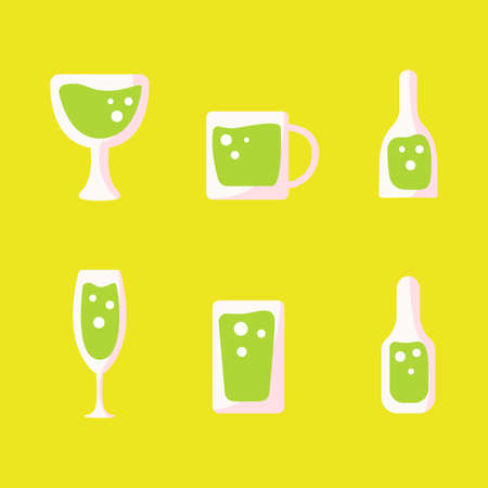 Simple Icon Glass With Alchorol Set Design With Different Type Of Bottle. Illustration