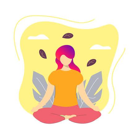 Yoga illustration design, With girl meditation and calming background, Easy editable.