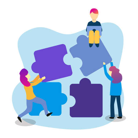 Group of people connecting puzzle illustration design, Can be used for many purpose.