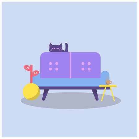 cute cat with sofa design illustration, Can be used for many purpose.