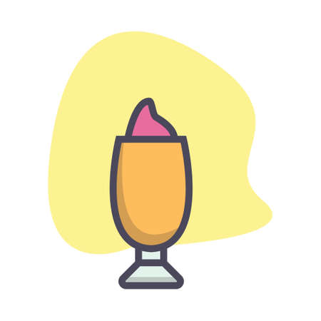 Simple glass with ice cream flat icon design illustration, can be used for many purpose. Ilustracja