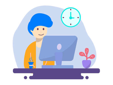 boy working from home design with laptop with flower and coffee, Can be used for many purpose.