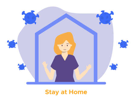 girl stay at home design illustration with corona virus, Can be used for many purpose.