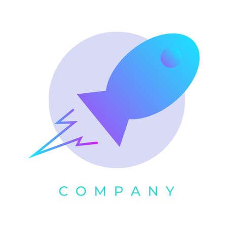 rocket logo design illustration with gradient color, Can be used for many purpose. Ilustração