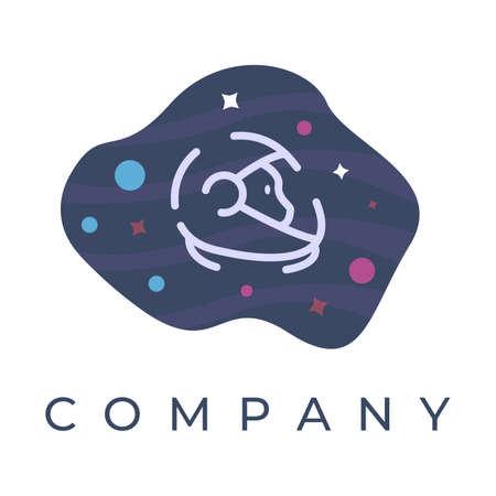 astronaut logo design illustration, With stars and planet background, Can be used for many purpose.