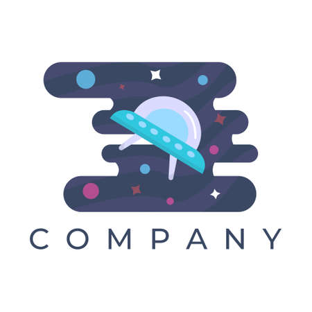 unidentified flying object logo design illustration, With stars and planet background, Can be used for many purpose.