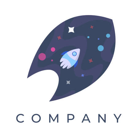 Spaceship logo design illustration, With stars and planet, Can be used for many purpose.