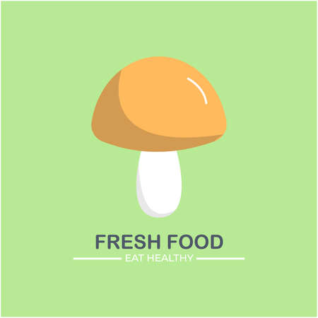 Healthy food logo design illustration, With mushroom, Can be used for culinary brand