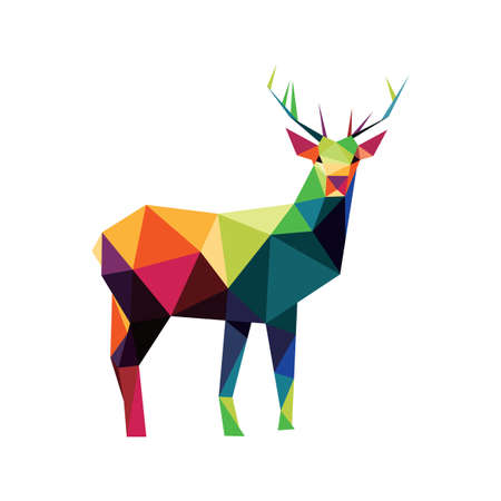 Deer in Colorful Polygonal low poly. Colorful abstract Icon. Colorful deer Vector Icon. Deer silhouette logo Ilustração