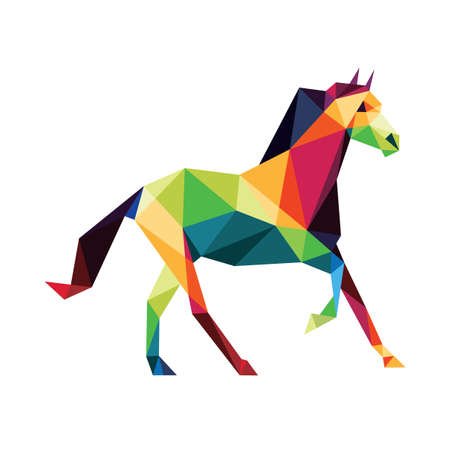 Horse in Colorful Polygonal low poly. Colorful abstract Icon. Colorful Horse Vector Icon. Horse silhouette logo