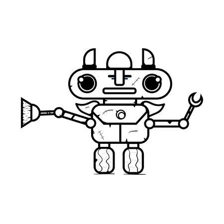 Cute Broom Robot Outline