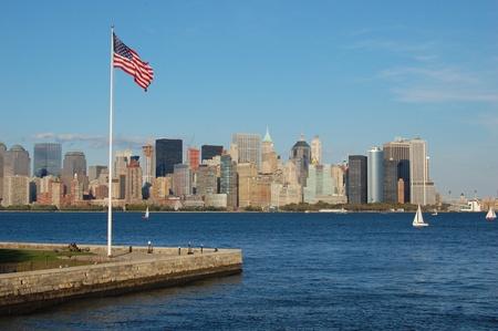 ellis: New York Skyline (as seen from Ellis Island) Stock Photo
