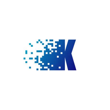 Letter K Pixel Logo, Fast Moving K Logo Illusztráció
