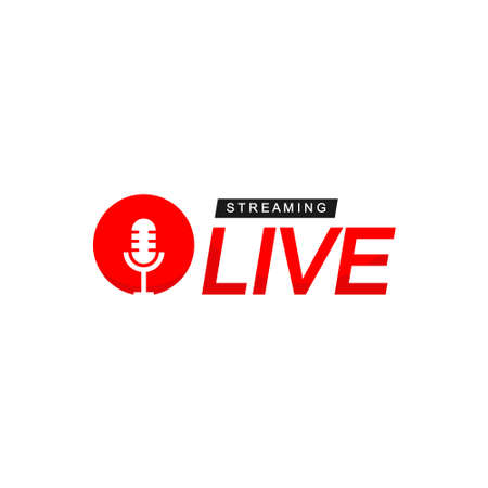 Live Streaming Logo With Microphone Symbol