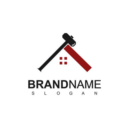 Real Estate, Developer Logo With Hammer And Roof Symbol