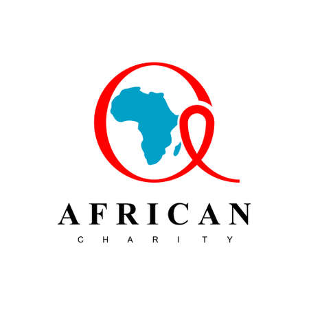 African Charity Logo With Circle Red Ribbon Symbol