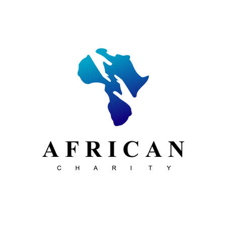 African Charity Logo With Helping Hand Symbol Silhouette in Africa Map Background