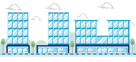 Modern Flat Commercial Office Building, Suitable for Infographics, Illustration, And Other Graphic Related Assets - Vector