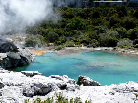 landscape of hot geotermal area with colored water and mud in Rotorua , New Zealand