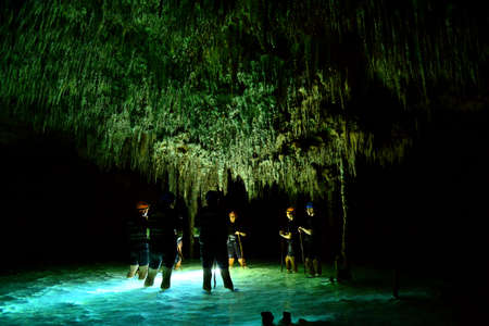 Cenote cave with underground water system rio secreto in Mexico Editorial