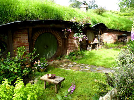 Hobbiton movie set of lord of the rings home of frodo and bilbo in Matamata, New Zealand