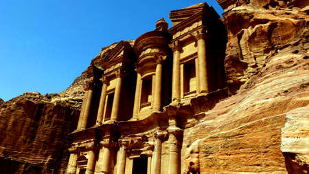 Petra, Jordan 19 04 2014: View of Ad Deir Monastery stone wonder in Petra Jordan