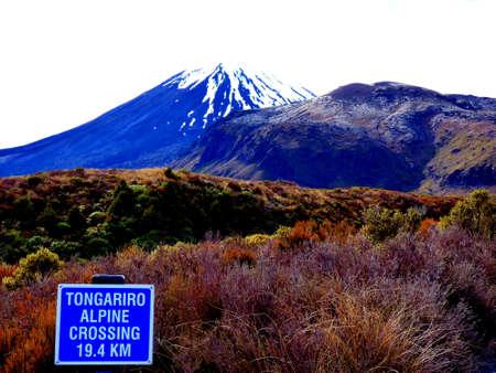 Tongariro vulcano crossing hiking in geothermal National Park in New Zealand