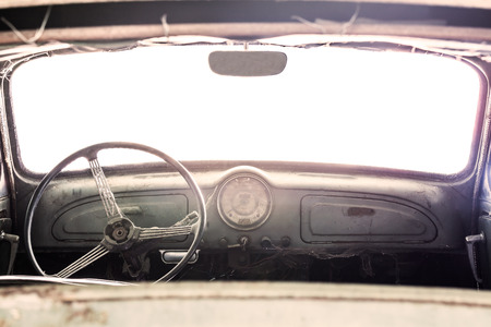 Interior of a classic vintage old car Stock Photo
