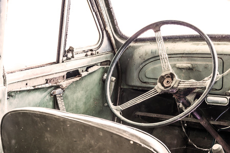 Interior of a classic vintage old car photo