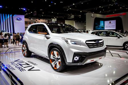 industrail: BANGKOK, THAILAND - MARCH 27 : Subaru car displayed at Thailand 37th International Motorshow 2016 Arina, Muangthong Thani, on March 27, 2016. Bangkok, Thailand. Editorial