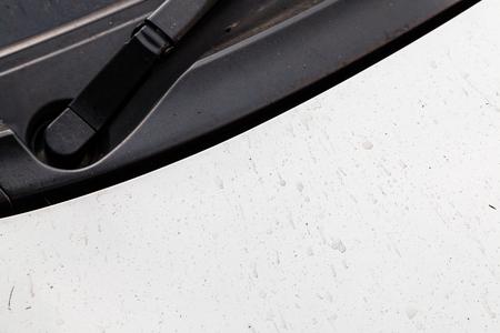 dirty car: dirty white hood car Stock Photo