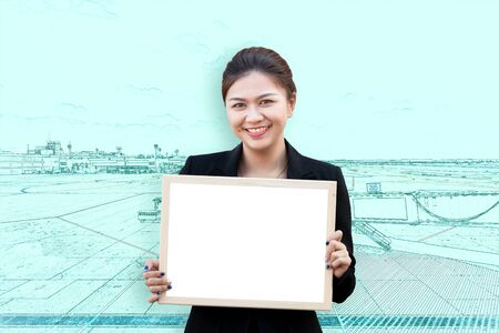 double exposure: Double exposure of woman holding white board with aircraft in runway airport