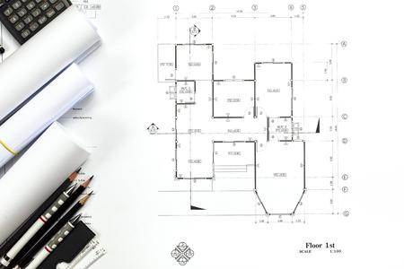 Fondo abstracto de los gráficos de la ingeniería con el espacio en blanco para su palabra. Plan de construcción de herramientas con espacio vacío en el escritorio. Foto de archivo - 84477871