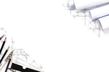 Fondo abstracto de los gráficos de la ingeniería con el espacio en blanco para su palabra. Plan de construcción de herramientas con espacio vacío en el escritorio. Foto de archivo - 84477874
