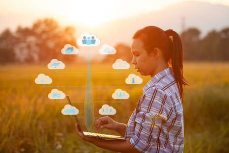 Farmer using laptop computer in cultivated paddy field in sunrise, modern technology application in agricultural growing activity