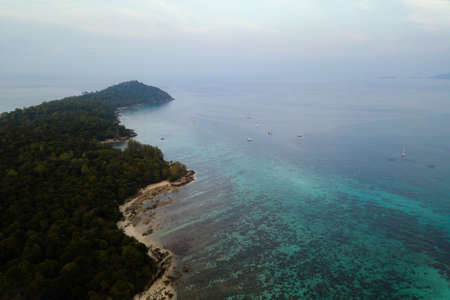 Aerial view, beautiful seascape with sky in morning at Koh Lipe island in Satun, Thailand. - Image
