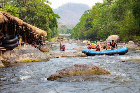 CHIANG MAI, THAILAND - March 28, 2019: The tourist having fun on white water rafting in Mae Taeng river at Maetang Chiangmai Thailand. 新闻类图片