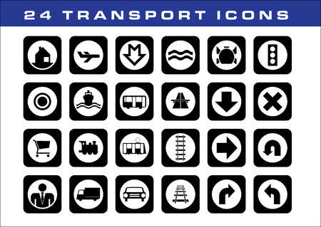 highway tunnels: 24 transport icons