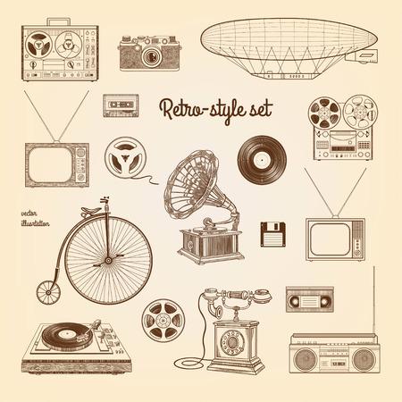 camera phone: Retro style set.illustration isolated on the old paper background.