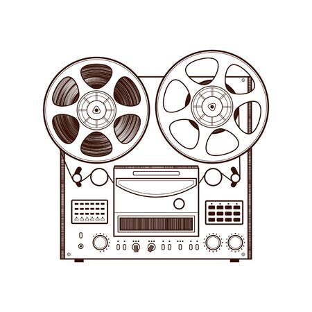 tape recorder: Old reel tape recorder.