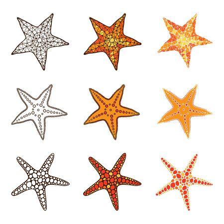 finger fish: Starfish set on a white background.