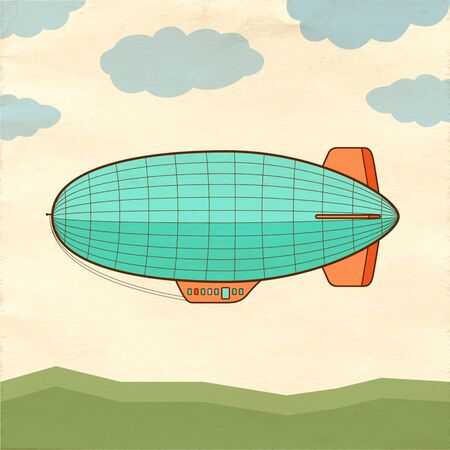 Airship on old paper background.
