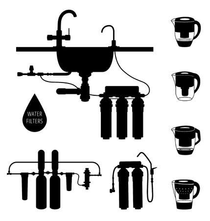 filtration: Water cleaning filter silhouette set.