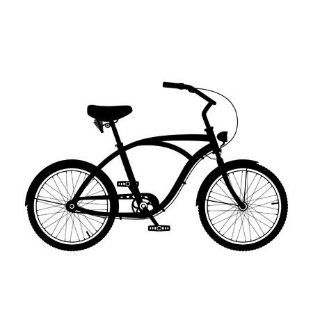 Cruiser Fahrrad Silhouette auf weißem isoliert.